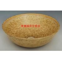 景德镇华宇瓷业-黄结晶釉-厂家直销-仿古艺术盆-实木柜