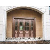 中间玻璃两面精工拼花透光别墅进户纯铜门