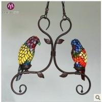 TIFFANY吊灯 彩色玻璃灯饰 两只鹦鹉灯 动物灯宠物灯
